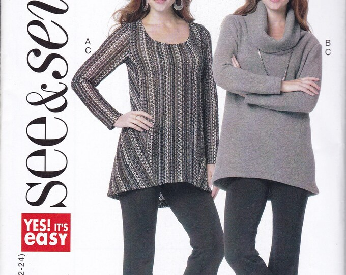 Free Us Ship Sewing Pattern Butterick 6272 Easy See & Sew Out of Print  Cowl Neck  Collar Tunic Tops Size 8/24 Bust 31-46 Factory Folded