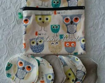 cover and its 6 wipes with owls pattern