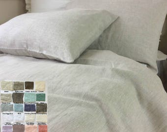 Natural Linen Duvet cover, Multiple Colors (40+), Natural Linen bedding, Available in Queen, King, Twin, Full, Custom Size Welcome