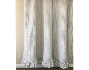Grey stripe Linen shower curtain features ruffle hem - Mildew-Free, 72x72, 72x85, 72x94. Custom Curtains, Bathroom Curtain, Bathroom Decor