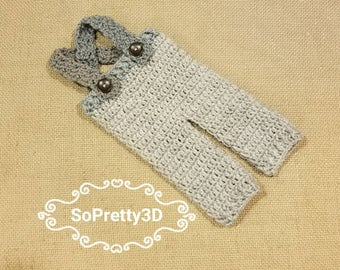 Newborn Crocheted Light/Dark Gray Overalls! Sizing for premies-0 months old! FREE SHIPPING!