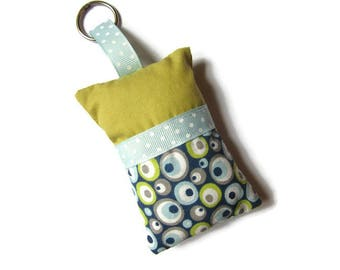 "Keychains fabric blue, grey and mustard ""circles"""
