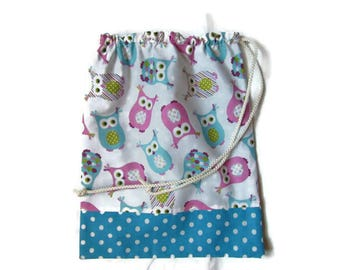 Pouch towel canteen, snack bag, purse towel canteen, owls, pink blue