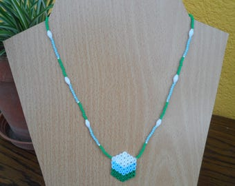 Necklace with white, blue, green Hama pendant and beads