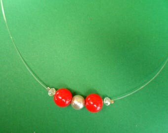 Necklace red and gray beads