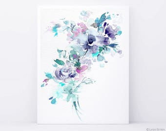 Watercolor flower, flower painting, watercolor flower print, abstract flower, flower art, pink flower, floral print, blue watercolor