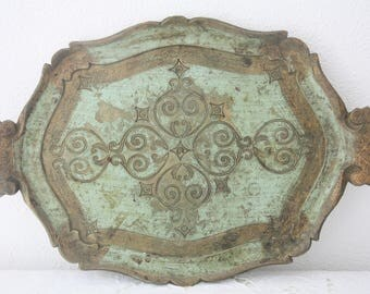 Vintage Italian Florentine Wooden Serving Tray, Green and Gold