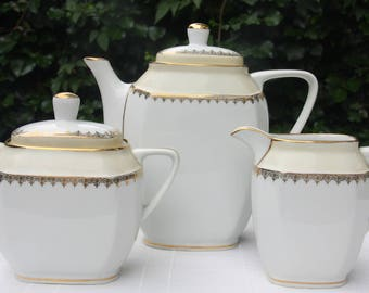 Lovely Vintage Limoges Porcelain Coffee Set, Coffeepot, Creamer and Sugar Bowl, White and Pale Yellow, France