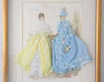 Lovely Vintage French Fashion Diorama, Victorian Fashion Shadow Box, French Fashion Illustration in Wooden Frame, Victorian Era Clothing