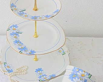 Vintage Royal Stafford Porcelain Tea Set, Three Tier Stand, Two Cups and Saucers, Two Pastry Plates, Blue Flower Decor, England