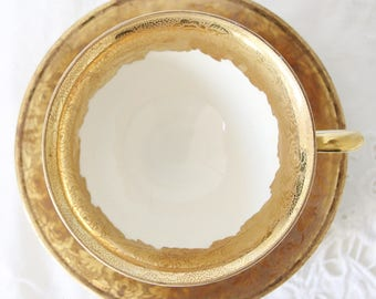 Georgeous Vintage Teacup and Saucer, Real Gold Gilding, Flower Decor, J G & Z, Germany