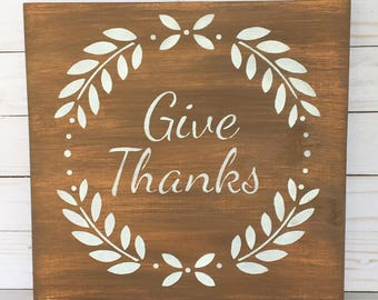 Give Thanks Wood Sign- Thankful Wood Sign - Wood Sign - Wooden Sign - Harvest Decor - Sign Decor