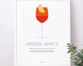 Aperol Spritz cocktail print – Aperol print – Cocktail art – Cocktail recipe – Champagne lover gift – Kitchen art – Kitchen poster – Gifts