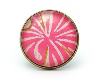 Fashion ring - pink and gold geometric ring