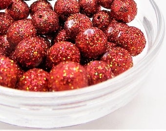 red glitter beads; pretty red and gold, polymer clay glitter beads, 8mm, 12pcs/2.40.