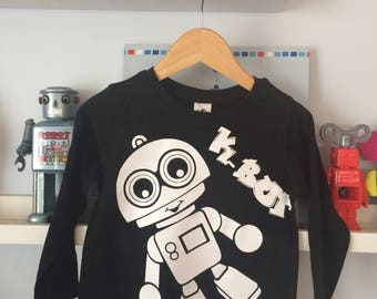 monochrome themed K-Bot on a Black long sleeve tee perfect for any Robot loving toddler