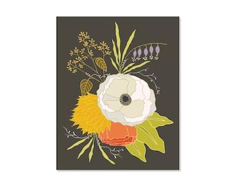 Flower Art Print, 8x10 print, Vintage Floral Arrangement, Floral Artwork, Floral Wall Art, Kitchen Art, Boho Art