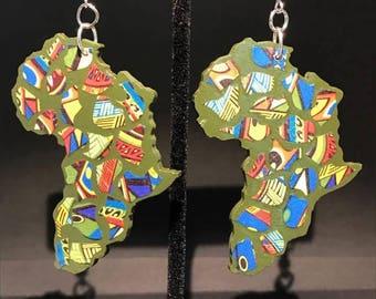 Funky Green Africa Earrings