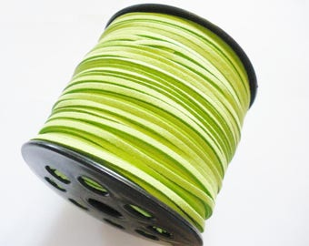 Suede cord green 3mm wide 1.5 mm thick