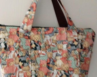 Ladies Handbag Purse Pocketbook Zip Top Daisy Kingdom Bears Print HB16