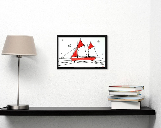 White and red ship - graphic acrylic painting on paper
