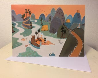 Blank card - Greeting card- Bear and girl river camping