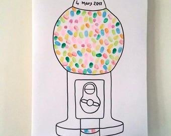 prints gum machine