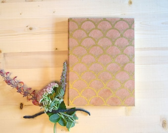 Journal Sketchbook Coral Peach and Gold Scale Pattern Mermaid Fish