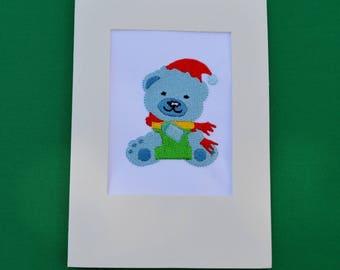 embroidered Teddy bear card