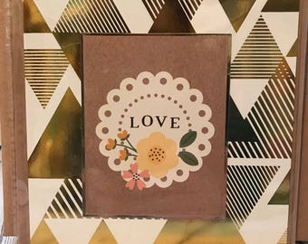 Handmade Card • Love • Gold Metalic Detail • Blank insert ready for own message