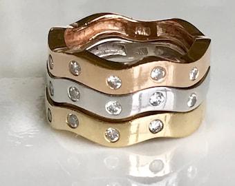Three 14k Stacking Rings,14k Diamond Stacking Rings,14k Rose Gold Stacking Ring,14k White Gold Stacking Ring,14k Yellow Gold Stacking Ring