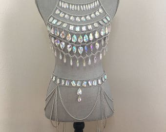 """Silver """"Tiffany"""" diamond gems top and Belt, burning man outfit, EDC rave bra and bottom, rave outfit, festival outfit"""