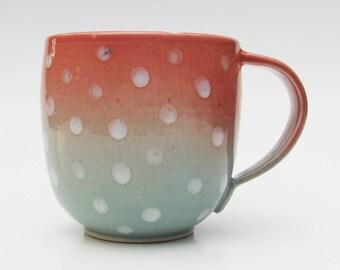 Modern Handmade Teal and Pink Mug