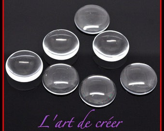Set of 10 cabochons missing 16 mm clear round glass