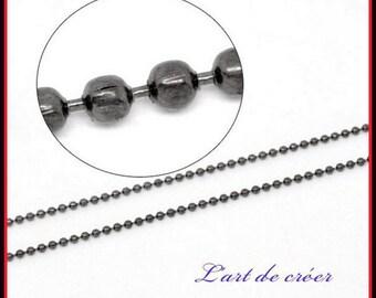 1 metre string beads balls Metal gunmetal - 1.5 mm mm