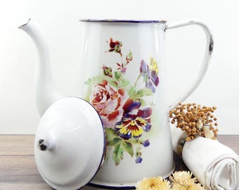 Enameled Coffee maker - enameled coffee pot - french coffee maker - french antique - shabby chic decor - French cottage - Kitchen vintage