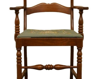 Antique Sewing Rocker Rocking Chair Needlepoint Back And Seat