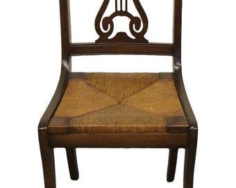 Antique 1940u0027s Mahogany Duncan Phyfe Harp / Lyre Back Rush Seat Chair