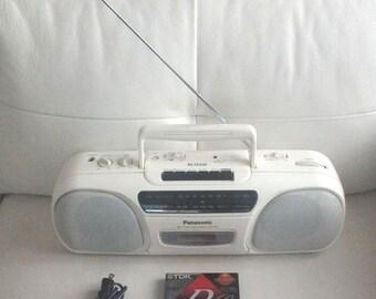 Vintage 1980'S Panasonic White RX-FS430 Stereo AM/FM Radio Cassette Recorder Player Boom Box with 2 Tdk virgin cassette as a bonus gift