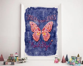 Butterfly quote illustration print by les Ephelides Design A3 format