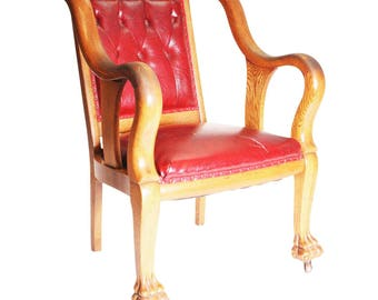 Antique GENTLEMAN'S ARM CHAIR victorian red leather clawfoot vintage oak corner gothic parlor living room