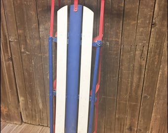Vintage Blue Wood Sled metal wooden wall art decor rustic weathered loft display mid century weathered shabby cabin decor winter snow 17082