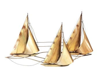 Vintage Boat METAL WALL ART 1977 curtis jere signed mid century modern mid century modern sailboat gold hanging retro living room nautical