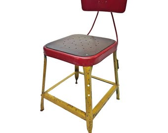 Vintage INDUSTRIAL STOOL yellow red desk steel metal chair seat steampunk factory machine age loft seating bar retro wood drafting accent