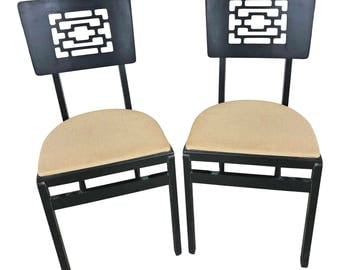 2 Vintage Wood FOLDING CHAIR PAIR set antique dinette mid century modern black beige wooden vinyl seat stakmore dining asian