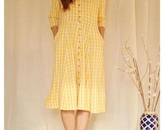 Yellow check dress