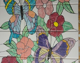 "Butterfly and Flowers Butterflies Back Splash Mural Hand Painted Kiln Fired Decorative Ceramic Wall Art Tile 12.75"" X 17"""