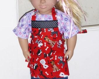 "18"" Doll Size Apron, Dog Print, American Girl Apron, Doll Clothes, Doggie Print Apron,Custommade Apron, Boy Doll Apron, Matching Child Apron"