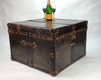 Large Square Leather Coffee Table Trunk