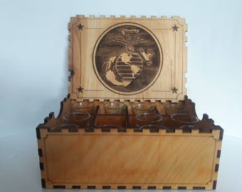 Marine Corps wooden box with 12 engraved shot glasses